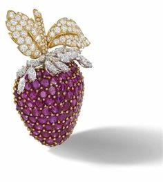 An Impressive Ruby And Diamond Brooch, By David Webb