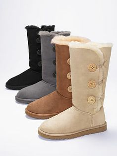 Victoria's Secret: UGG Bailey Button Triplet Boot in Gray