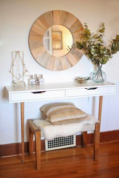 IKEA Hacks and DIY Hack Ideas for Furniture Projects  and Home Decor from IKEA -  DIY Modern Vanity IKEA Ekby Alex Shelf Hack - Creative IKEA Hack Tutorials for DIY Platform Bed, Desk, Vanity, Dresser, Coffee Table, Storage and Kitchen Decor http://diyjoy.com/diy-ikea-hacks