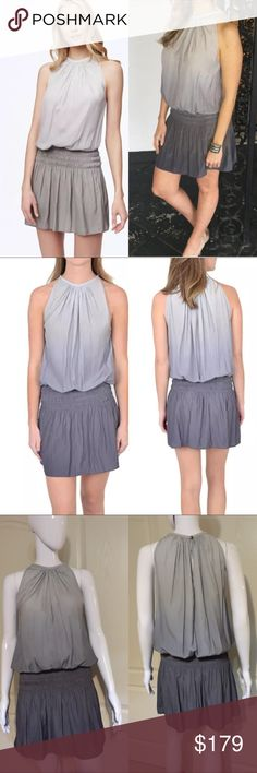 "Ramy brook ombré Paris blouson sleeveless dress Condition: brand new without tags, never worn. 2017 S/S Collection. best seller! A lightweight Ramy Brook dress with pretty ombré shading. Smocked elastic waistband. Sleeveless. Button back keyhole. Unlined. Fabric: Sateen. 100% polyester. Dry clean. Imported, China.color: silver gunmetal Measurements in inch: XS bust:34"",length:36"" S bust:36"",length:36.5"" M bust:38"",length:37"" 🚫lowball offer/Trade ramy brook Dresses Mini"
