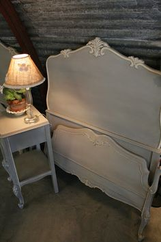 After: I painted the set with Paris Grey Chalk Paint with Old White on the trim. I love the details on the the headboards and footboards and the paint really makes the them stand out.