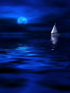 Blue, #blue beauty - #sailboat and #moon.