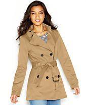 Bar III Asymmetrical-Zip Belted Trench Coat
