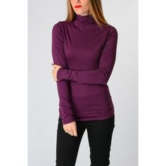 VELVET BY GRAHAM & SPENCER Long Sleeves Cotton Blend T-shirt (79 CAD) ❤ liked on Polyvore featuring tops, t-shirts, violet, long sleeve tops, turtleneck t shirt, long sleeve turtleneck t shirts, purple long sleeve t shirt and turtle neck top