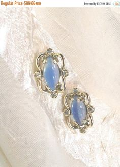 SALE 20% OFF Vintage Moonstone Earrings by NorthCoastCottage