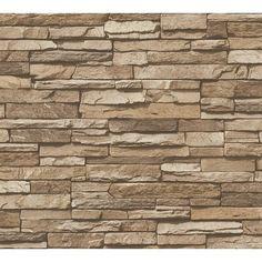 Millwood Pines Wallick Wood Stone Brick L x W Wallpaper Roll Color: Beige Look Wallpaper, Brick Wallpaper Roll, Stone Wallpaper, Vinyl Wallpaper, Wallpaper Paste, Light Brown Wallpaper, Textured Wallpaper, Textured Walls, Slate Stone