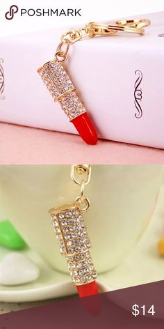 "Crystal Rhinestone Lipstick 💄 Keychain Specification:      100% High Quality and Brand New      Material: Alloy, Rhinestone,Crystals      Size: 2"" L Accessories"