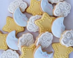 Moon, cloud and stars cookies