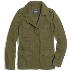 MADEWELL All-Weather Outbound Jacket ($30) ❤ liked on Polyvore featuring outerwear, jackets, tops, coats, foliage green, army green jacket, brown jacket, water resistant jacket, green military jacket and cotton jacket