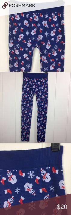 No Boundaries Adorable Christmas Leggings 🎄⛄️❄️ These leggings are so cute!! They are navy blue and have a fun print with snowmen, snowflakes and stockings 😁 Perfect for the upcoming holiday season! 🎁🎄❄️⛄️ These would make a wonderful gift! Or wear them to your Ugly Christmas Sweater Party! 😂 (even though they're super cute hehe). EUC. Excellent Used Condition!! They look brand new! Slightly thick material (too keep you warm). They are soft inside and out (lightly fleece lined). 95%…