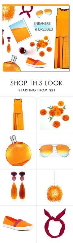"""Orange mood"" by ekaterina-uglyanitsa ❤ liked on Polyvore featuring MSGM, Hermès, Yves Saint Laurent, Bahina, Varaluz, Jeffrey Campbell, yunotme, West Elm and SNEAKERSANDDRESSES"