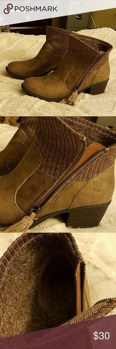 NWOT B.O.C Size 8M Boots Brown Zip with Tassel BOC Size 8 M Brown Ankle Boots with side zip and Tassel and low comfortable heel. Easy to slip on. Stylish and Comfortable. Never worn. Wear with Jeans or khakis. b.o.c. Shoes Ankle Boots & Booties