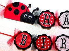 Ladybug Birthday Banner. $32.00, via Etsy. Love the tulle imbetween