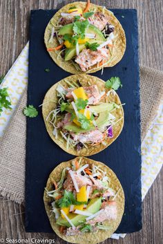 Salmon Tostadas - Sign up for easy, healthy recipes at http://eepurl.com/bgGhFT