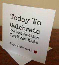 Wedding Anniversary Gift Ideas that are so Romantic that you'd want to write poetic verses - - Romantic and simply the best Wedding anniversary gift ideas that you'll fall in love with. Exciting marriage anniversary gifts that you just can't miss. Anniversary Cards For Husband, Wedding Anniversary Gifts, Funny Wedding Anniversary Quotes, Cute Anniversary Ideas, Anniversary Crafts, Work Anniversary, Anniversary Greetings, Funny Anniversary Cards, Anniversary Invitations
