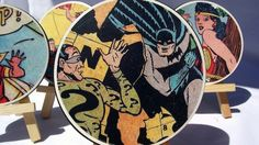 July 8, 2015 - Superhero Coasters Decoupage coasters with recycled comic books.