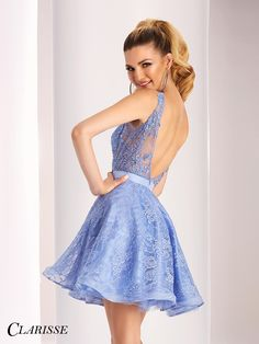 Short Sleeveless Lace Clarisse Prom Dress 3147. Light up the room in this adorable short lace prom dress with sheer mesh bodice and deep V back. Purchase this cutie from a Clarisse authorized retailer today!  COLOR: Periwinkle SIZE: 00-16
