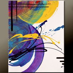 Abstract Art Canvas Painting 18x24 Contemporary Rainbow Art Paintings by Destiny Womack - dWo - Random Thoughts - SUPER SALE
