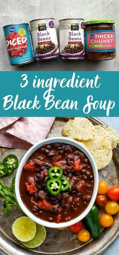 This easy black bean soup is made with just 3 basic ingredients! You can customize it with your favorite toppings for a healthy, meatless dinner on a budget! This vegan soup is spicy and delicious! #soup Vegetarian Recipes Easy, Cooking Recipes, Vegetarian Soups, Spicy Soup, Spicy Black Bean Soup Recipe, Potato Cheese Soups, Easy Black Bean Soup, Vegetable Soup Healthy, Bean Soup Recipes