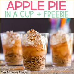 Apple Pie in a Cup   Freebie Apple Snacks, Apple Desserts, Fun Desserts, Dessert Recipes, Cooking Classes For Kids, Cooking With Kids, Easy Cooking, Healthy Cooking, Preschool Cooking