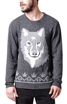 PacSun presents the On The ByasWolf Head Crew Sweater for men. This charcoal men's sweater comes with a unique knit and a wolf graphic sewn on the front.Multi color knit sweaterCrew neckLong sleevesRegular fitMachine washable54% cotton, 46% acrylicImported