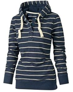 Blue Striped Drawstring Pullover Hooded Sweatshirt