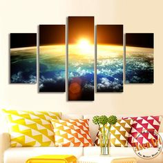 5 Piece Amazing Skyline Sunrise Painting Wall Art Canvas Prints Wall Paintings for Bedrooms Home Decor Unframed  #prints #printable #painting #canvas #empireprints #teepeat