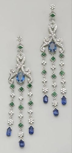 Sapphire Jewelry A pair of sapphire, kyanite, emerald, diamond and eighteen karat white gold earrings each dangle earring centering an oval-shaped sapphire, Antique Jewelry, Silver Jewelry, Vintage Jewelry, Fine Jewelry, Pandora Jewelry, Fancy Jewellery, Geek Jewelry, Gothic Jewelry, Silver Pendants
