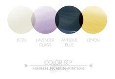 Color Sip Brushstrokes - Ecru, Lavender Glass, Antique Blue, Lemon | Fresh Hues