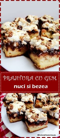 O prajitura cu gust de copilarie la bunici. Blat cu iaurt, un strat de gem delicios si bezea pufoasa presarata cu nuci.  #reteta #desert #prajituri #bezea #gem #dulceata #bucatearomate Dessert Cake Recipes, Sweets Recipes, Cooking Recipes, Romanian Desserts, Good Food, Yummy Food, Square Cakes, Pastry Cake, Food To Make