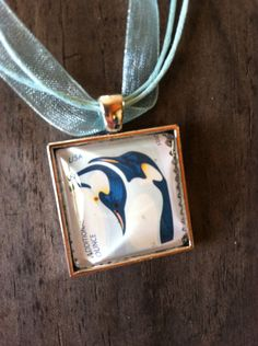 Penguins Necklace ~  Dome Pendant Tray Necklace ~ Postage Stamp Jewelry ~ Second Ounce Stamp by MichellesVarietyShop on Etsy