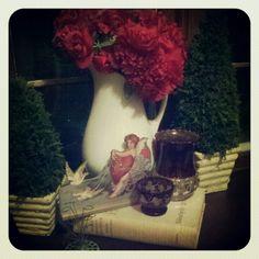 Antique pitcher, ruby flash vases, flower frog  #Valentines decor