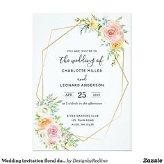 wedding invitation floral dusk pink and gold