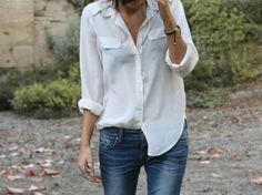 iloveprettypinkthings:    Jeans and a white shirt. The perfect ensemble.     Classic (but gorgeous) combo!