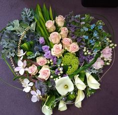 Contemporary heart in pink, white, lilac and blue