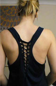 DIY Shirt Weave - Perfect for workout tank refashions