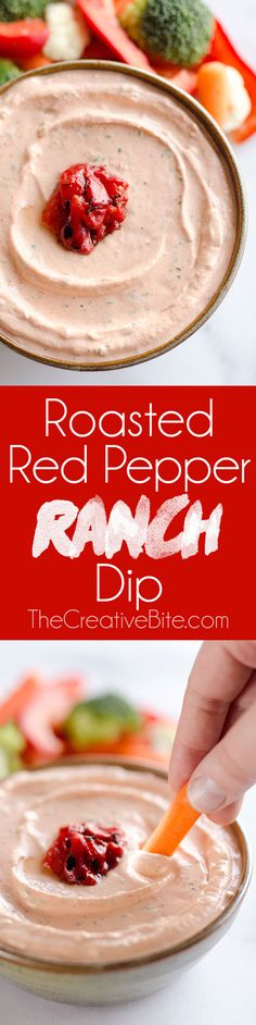 Roasted Red Pepper Ranch Dip is an easy appetizer that comes together in just 5 minutes with light cream cheese, Greek yogurt and Hidden Valley Ranch, perfect for dipping with your favorite veggies or crackers! Easy Appetizer Recipes, Appetizer Dips, Yummy Appetizers, Dip Recipes, Cooking Recipes, Sauce Recipes, Party Recipes, Recipies, Cheese Sauce For Veggies