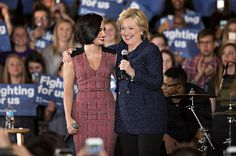 See musicians getting political  -- including Demi Lovato with Democratic presidential candidate Hillary Clinton (pictured together during an event in Iowa City, Iowa, on Jan. 21, 2016) and more   Billboard