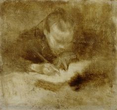 // Man Writing by Eugène Carrière at Detroit Institute of Arts