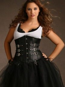 Plus Size Tara Underbust Corset with Buckles, Black