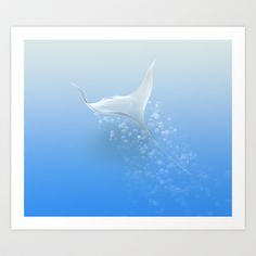 Surreal stingray Art Print by Jean Maurice Damour