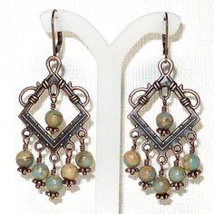 Impression Jasper and Copper Diamond Link Chandelier Earrings | KatsAllThat - Jewelry on ArtFire