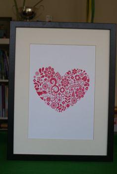 Silk screenprinted folk heart poster