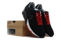 Nike Air Max 90 Billigt Herre Ruskind Sort/Rød/Hvid Sko
