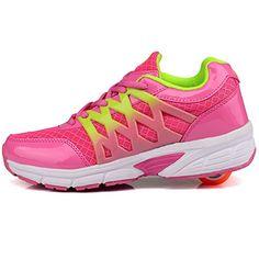Vilocy Kinder Rollen Schuhe Sport Roller Skates Schn��rsenkel Sneakers Pink 33