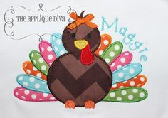 Fall Thanksgiving Turkey Digital Embroidery Design Machine Applique on Etsy, $2.99