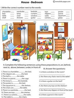 Kids Pages - Bedroom And Prepositions: