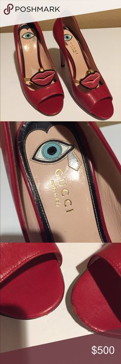 Authentic Gucci red lips heels 😍😍 size euro 37. Beyoncé wore these heels before so you know they are quality. ( same shoes not the ones I have ) they are good used shape . Photos show some minor nicks and marks on them but they are not bad at all. They are missing the ankle straps i unfortunately lost them while moving , however amazon sells gold ankle straps for heels for $8 dollars. Feel free to make an offer! 😘 Gucci Shoes Heels