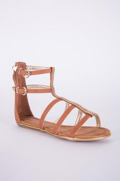 BROWN ZIPPED DIAMANTE GLADIATOR SANDAL