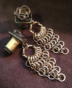 Rosebud Plugs - Earrings for Stretched Lobes - Chain-maille Dangles with Filigree